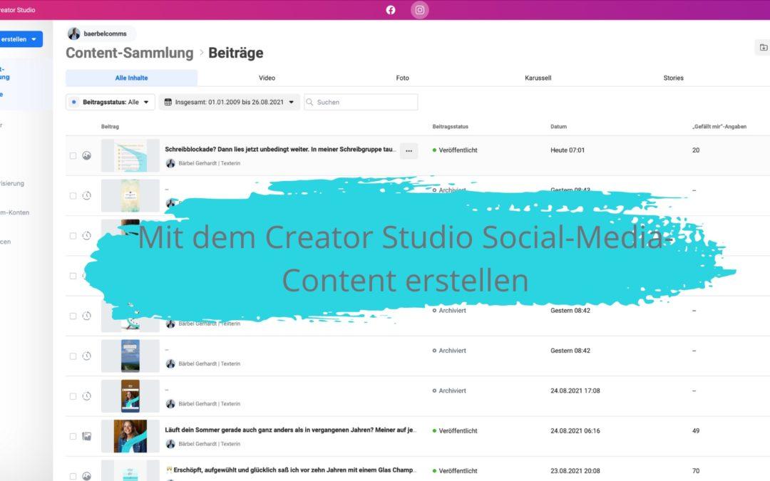 Mit dem Facebook Creator Studio Social-Media-Content erstellen